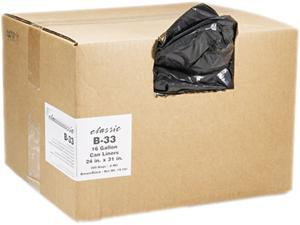 2-Ply Low-Density Can Liners, 16Gal, 0.6Mil, 24 X 31, Black, 500/Carto