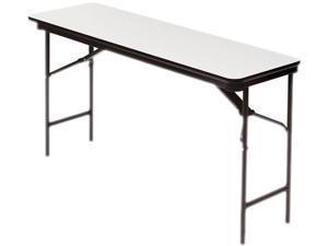 Premium Wood Laminate Folding Table, Rectangular, 60w X 18d X 29h, Gray/charcoal