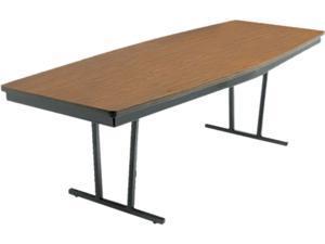 Economy Conference Folding Table, Boat, 96W X 36D X 30H, Walnut/Black