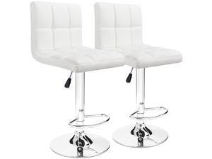Furmax Bar Stools Modern PU Leather Swivel Adjustable Hydraulic Bar Stool Square Counter Height Stool Set of 2 (White)