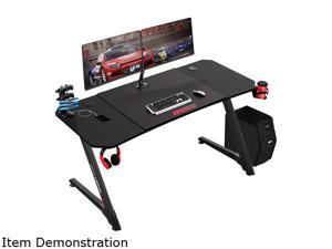 BOSSIN 55 Inch Ergonomic Gaming Desk, Z-Shaped Office PC Computer Desk with Large Mouse Pad, Gamer Tables Pro with USB Gaming Handle Rack, Stand Cup Holder&Headphone Hook