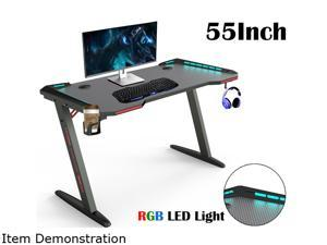 "Gaming Desk 55"" Z Shaped Large PC Computer Gaming Desks Tables with RGB LED Lights for E-Sport Racing Gamer Pro Home Office Gift"