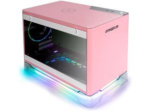 InWin A1 Plus Pink Mini-ITX Tower with Integrated ARGB Lighting 650W Gold Power Supply Qi Wireless Phone Charger Computer Chassis Case