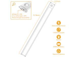 Under Cabinet Lighting with Motion Sensor, Wireless LED Closet Lights Battery Operated, 66 LEDs 300lm 6000K USB Rechargeable, Stick on Stairs, Wardrobe, Hallway, Kitchen, Bedroom
