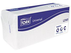 Tork Universal Luncheon Napkins 1-Ply 13x11 1/2 1/4 Fold Poly-Pack White 6000