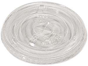 Compostable Cold Cup Lids, Flat, For 10, 12, 16Oz Cups, Clear, 100/Pac
