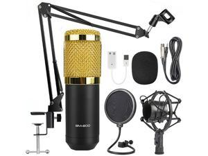 Toleap BM-800 Condenser Microphone Bundle, With Adjustable Mic Suspension Scissor Arm, Shock Mount and Double-Layer Pop Filter, For PC Studio Recording & Broadcasting Skype YouTuber Karaoke