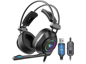 AULA S600 Professional Wired Gaming Headset Lightweight Noise Canceling Over-Ear PC Gaming Headphones with 360 Degree Rotation Omnidirectional Mic for Computer (7.1 USB)