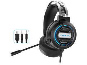 AULA S603 Wired Gaming Headset with Microphone Surround Sound, USB Dual 3.5mm Corded Volume Control Over-Ear Games Headphones, HD Noise Cancelling Mic for Phone PC/MAC Laptop