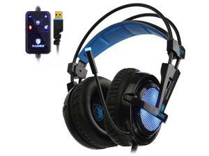 SADES Locust Plus Gaming Headset 7.1 Virtual Surround Sound Headset RGB Light USB Connector Elastic Suspension Headband for PC, Laptop
