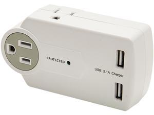 Innovera 71717 Travel Charger/Surge Protector With Usb Ports, 3; 2 Usb, 612 Joules, White