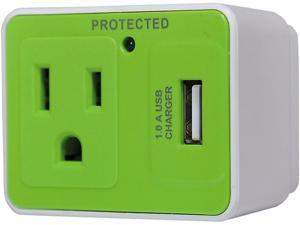 Innovera 71719 Travel Surge Protector, 1 Outlet/1 USB Charging Port, 306 Joules, White