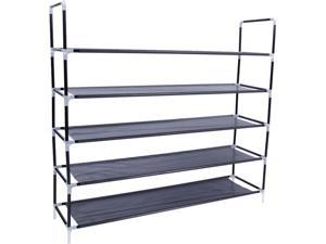 Simple Assembly 5 Tiers Non-Woven Fabric Shoe Rack with Handle Shoe Holder Home Shoes Support for House