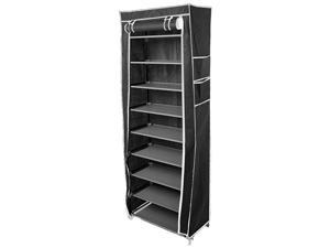 Standing 10 Tier Level Shoe Tower Rack Organizer Storage Space Saving Black