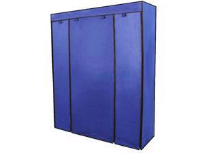 5 Tier 12 Grids Portable Closet Storage Organizer Wardrobe Clothes Rack Blue
