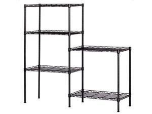 WayHope Black 5-Tier Layer Shelf Adjustable Wire Metal Shelving Rack High Quality Garage 21.25 x 11.42 x 59.06""