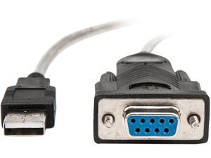 Rocstor 5ft 1 Port USB to Null Modem RS232 DB9 Serial DCE Adapter Cable with FTDI