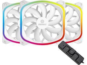 Enermax SquA RGB PWM 120mm Case Fan, Addressable RGB Sync Via Motherboard w/ RGB Control Box, 3 Fan Pack - White, UCSQARGB12P-WP3