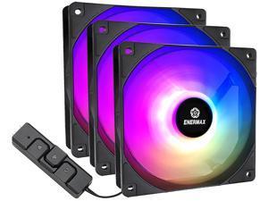 Enermax HF120 RGB PWM 120mm Case Fan, Addressable RGB Sync Via Motherboard/Control Box, 3 Fan Pack- Black