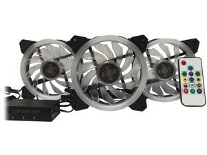 EPOWER 120mm Quiet RGB LED PWM Fan (3-Pack) with  8 Port Fan Hub and RF Remote