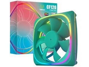 Vetroo CF120 120mm Case Fan 5V 3 PIN Addressable RGB MB Sync PC Cooling Fan W/ Green Fan Frame for Radiator / CPU Cooler / Computer Case
