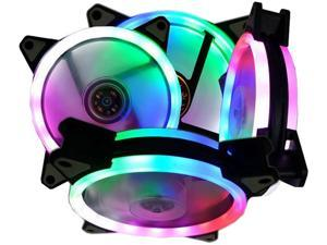 Vicabo Kit RGB Lighting LED 120mm 6 Packs Case Fans PC Cooling Ultra Quiet Fan, 12V 4Pin/3Pin, Absorbing Rubber Pads, for Desktop Computer Gaming Case CPU Air Cooler & Liquid Radiator System (6pcs)