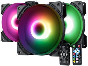 Vicabo 3 Packs Addressable RGB Case Fans, 120mm Silent Computer Cooling PC Case Fan Cooler Color Changing LED Lighting Loop Fan with Remote Control, Radiators System (3pcs)