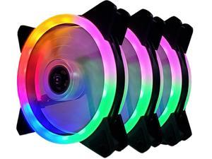 Vicabo 3 Packs Case Fan Silent Dual Light Loop RGB LED 120mm High Performance Adjustable Colorful Light PC Computer Case Cooling Cooler (3pcs)