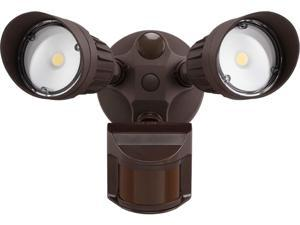 LEONLITE 20W Dual-Head Motion-Activated LED Outdoor Security Light, 5000K, Bronze
