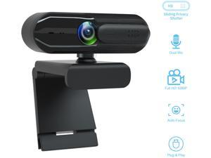 EACH Full HD Webcam 1080p USB Webcam Autofocus Camera HDR Webcam Widescreen with Privacy Cover Video Calling and Recording for Laptop PC Skype Stream Gaming