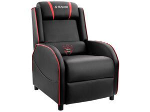 Homall Gaming Recliner Chair Single Living Room Sofa Recliner Black PU Leather Recliner Seat (Red/Black)