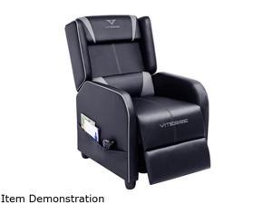 Vitesse Gaming Recliner Chair Ergonomic Racing Style Single Lounge Sofa Modern PU Leather Reclining Home Theater Seat for Living & Gaming Room (Grey)