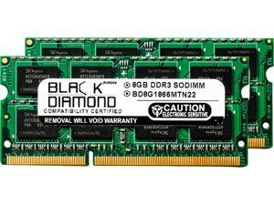 Black Diamond Memory 16GB (2 x 8GB) 204-Pin DDR3 SO-DIMM DDR3 1866 (PC3 14900) Notebook Memory Model BD8GX21866MTN22