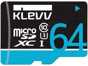 KLEVV Premium MicroSD SDXC Class 10 UHS-I U3 64GB, Black, U064GUC3U14-B, read speed: up to 97MB/s, latest SDA 3.0