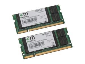 Mushkin Enhanced Essentials 4GB (2 x 2GB) 200-Pin DDR2 SO-DIMM DDR2 800 (PC2 6400) Dual Channel Kit Laptop Memory Model 996577