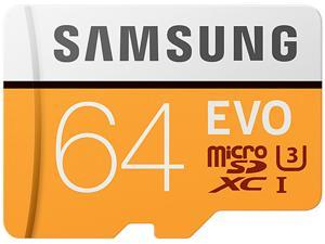 Samsung 64GB EVO microSDXC UHS-I/U3 Memory Card with Adapter, Speed Up to 100MB/s (MB-MP64GA/AM)