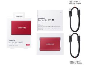 SAMSUNG T7 Portable SSD 1TB - Up to 1050 MB/s - USB 3.2 External Solid State Drive, Red (MU-PC1T0R/AM)
