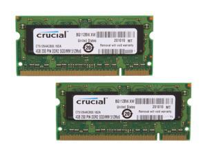 Crucial 8GB (2 x 4GB) 200-Pin DDR2 SO-DIMM DDR2 800 (PC2 6400) Dual Channel Kit Laptop Memory Model CT2KIT51264AC800