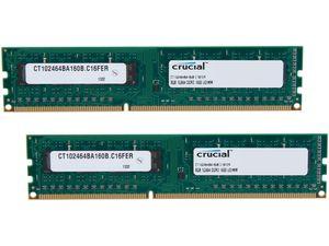 Crucial 16GB (2 x 8GB) 240-Pin DDR3 SDRAM DDR3 1600 (PC3 12800) Micron Chipset Desktop Memory Model CT2KIT102464BA160B