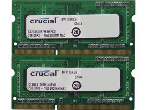 Crucial 4GB (2 x 2GB) 204-Pin DDR3 SO-DIMM DDR3L 1066 (PC3L 8500) Laptop Memory Model CT2C2G3S1067MCEU