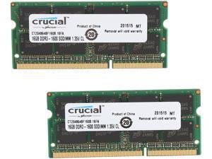 Crucial 32GB (2 x 16GB) 204-Pin DDR3 SO-DIMM DDR3L 1600 (PC3L 12800) Laptop Memory Model CT2KIT204864BF160B