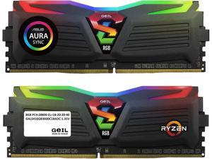 GeIL SUPER LUCE RGB SYNC AMD Edition 16GB (2 x 8GB) 288-Pin DDR4 SDRAM DDR4 3600 (PC4 28800) Intel XMP 2.0 Desktop Memory Model GALS416GB3600C18ADC