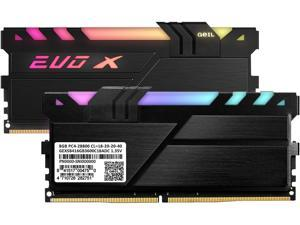 GeIL EVO X II 16GB (2 x 8GB) 288-Pin DDR4 SDRAM DDR4 3600 (PC4 28800) Intel XMP 2.0 Desktop Memory Model GEXSB416GB3600C18ADC