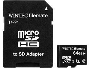 Wintec FileMate 64GB microSDXC Professional Plus UHS-I microSDXC Flash Memory Card Model 3FMUSD64GU1PI-R