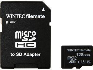 Wintec FileMate Professional Plus 128GB microSDXC Flash Card with  Adapter Model 3FMUSD128GU1PI-R