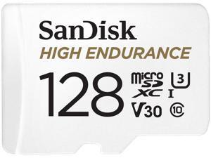 SanDisk 128GB High Endurance microSDXC C10, U3, V30, 4k UHD Memory Card with Adapter (SDSQQNR-128G-GN6IA)
