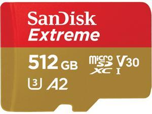 SanDisk 512GB Extreme microSDXC UHS-I/U3 A2 Memory Card with Adapter, Speed Up to 160MB/s (SDSQXA1-512G-GN6MA)