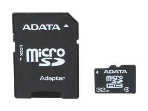 ADATA 32GB Class 4 Micro SDHC Flash Card with Adapter Model AUSDH32GCL4-RA1