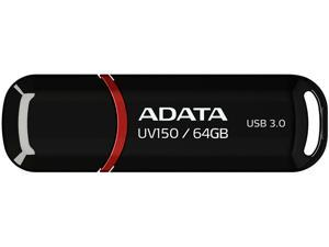 ADATA 64GB UV150 Snap-on Cap USB 3.1 Flash Drive (AUV150-64G-RBK)