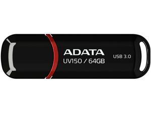 ADATA 64GB UV150 Snap-on Cap USB 3.1 Flash Drive (AUV150-64G-RBK)